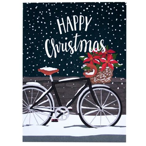 poinsettia bicycle christmas card merry christmas cards