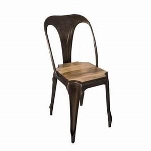 Chaise Bois Et Fer : chaise campagne chic fer assise bois ~ Melissatoandfro.com Idées de Décoration