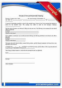 free printable minutes of annual shareholder meeting form With minutes of shareholders meeting template