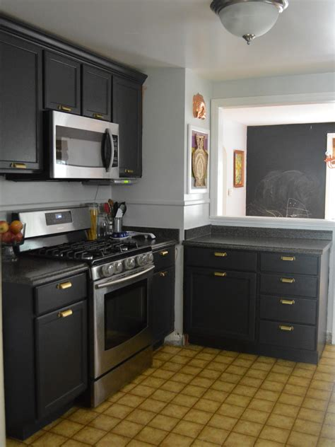 dark grey kitchen cabinets picture of small kitchen design black cabinets and grey