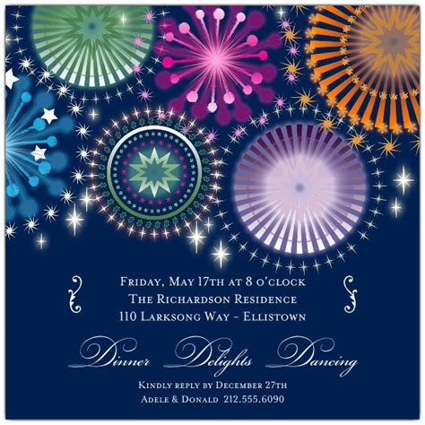 fireworks sky engagement party invitations paperstyle