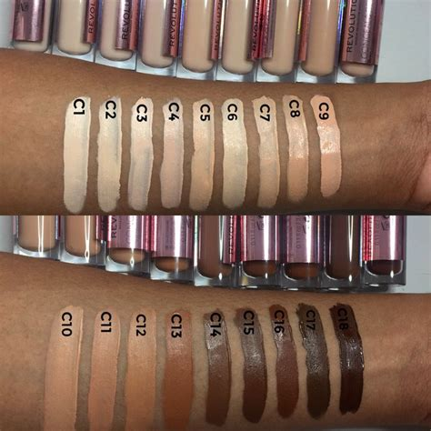 makeup revolution conceal  define concealer swatches