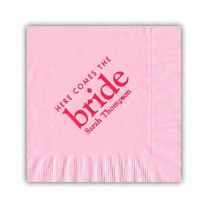 here comes the bride hot pink on soft pink personalized With wedding shower napkins