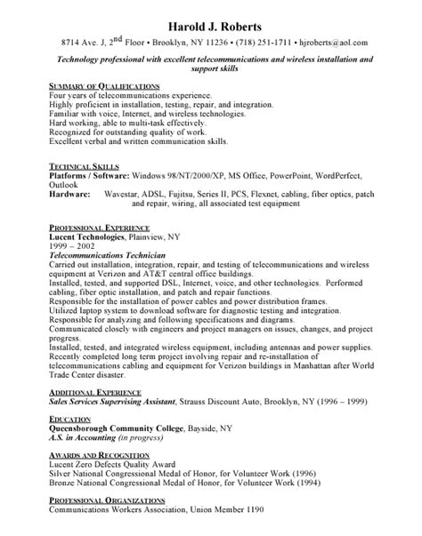 Telecom Technician Resume by Telecommunications Technician Free Resumes