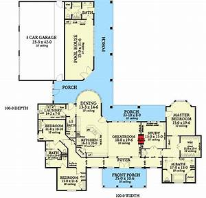 Ranch, Home, Plan, With, Pool, House