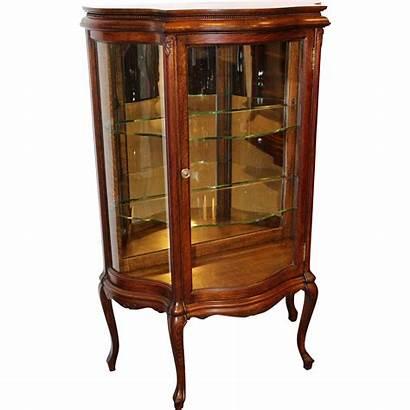 Curio Oak Cabinet Glass 1890s Serpentine