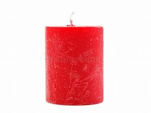 Thick Red Wax Candle With A Wick On A White Background ...