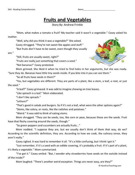 Reading Comprehension Worksheet  Fruits And Vegetables