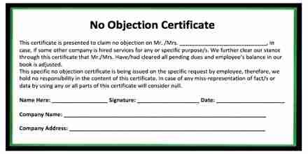 request letter   objection certificate  attend