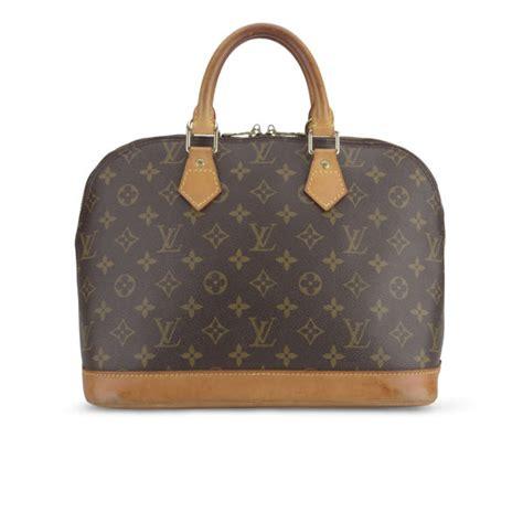 louis vuitton vintage leather alma bowler bag brown