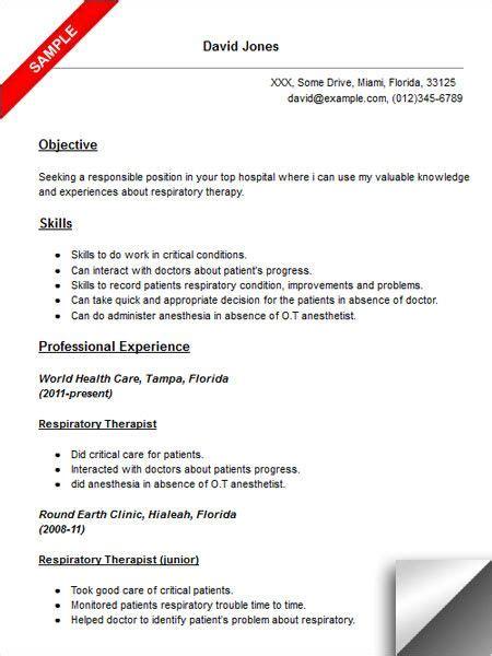 respiratory therapist resume sample resume examples