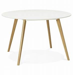 Table Bois Pied Blanc : table ronde scandinave plateau blanc pieds bois immy ~ Teatrodelosmanantiales.com Idées de Décoration
