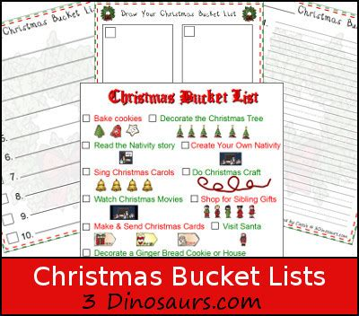 dinosaurs christmas bucket lists