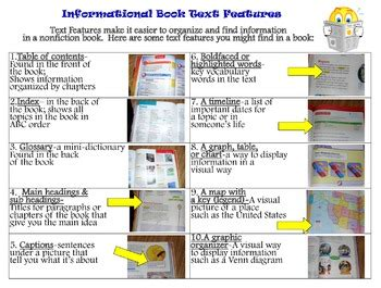 informational book and text features charts grade 3 tpt