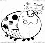 Ladybug Drunk Coloring Cartoon Clipart Outlined Chubby Vector Thoman Cory sketch template