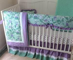 mermaid baby crib bedding in lavender and mint made to