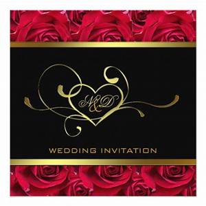 black and gold on red roses wedding invitation zazzle With dark red and gold wedding invitations
