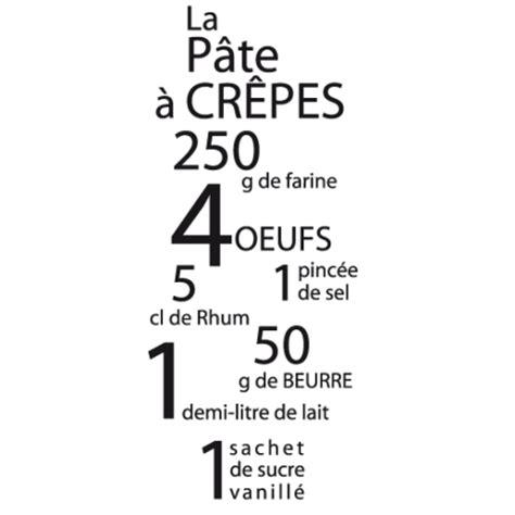 stickers recette de cuisine sticker pâte à crêpes pour déco cuisine avec textes
