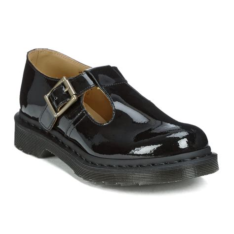 womens leather loafers dr martens 39 s polley patent ler t bar flat shoes