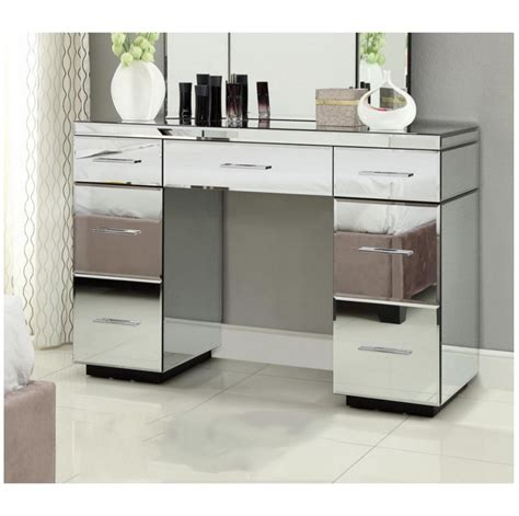 desk with drawers and mirror rio mirrored dressing table console 7 drawer mirror