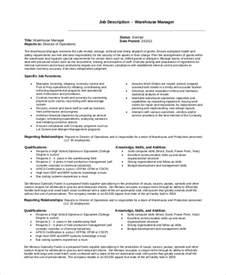 Warehouse Manager Job Description Sample