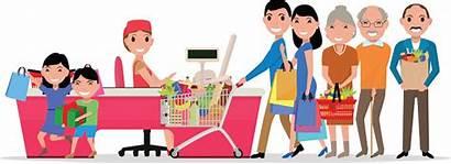 Supermarket Cartoon Shopping Vector Doing Cash Customers