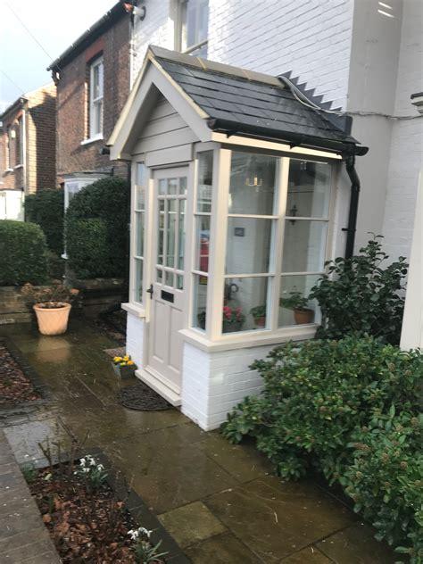 Painted Stone Porch Idea Slanted Roof Basement