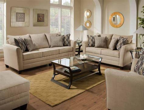 Beige Jute Microfiber Modern Sofa & Loveseat Set w/Options