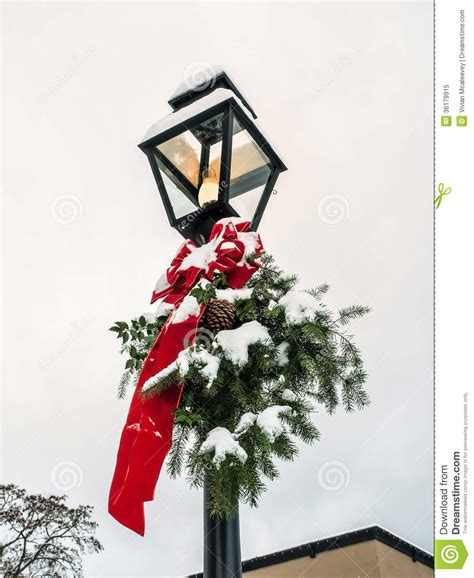 lamp post  christmas decoration stock image image