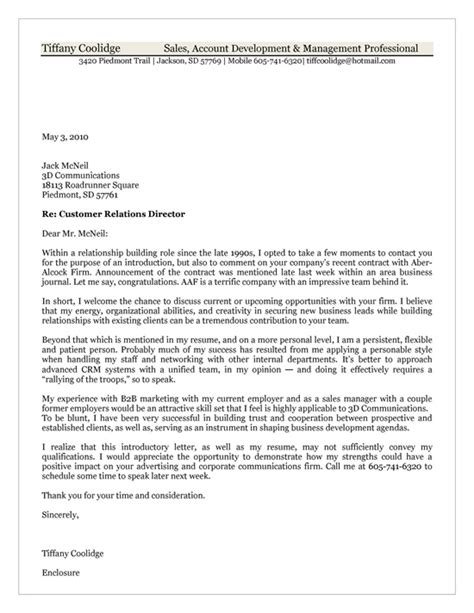 customer relations cover letter exle