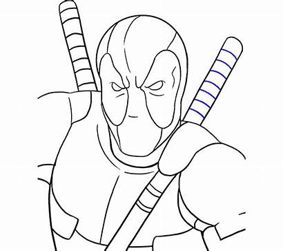 Deadpool Draw Drawing Step Easy Sketch Crayon