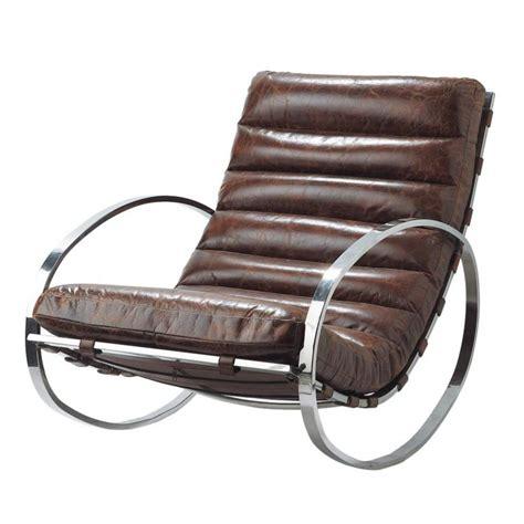 rocking chair chambre bébé fauteuil à bascule en cuir marron freud maisons du monde