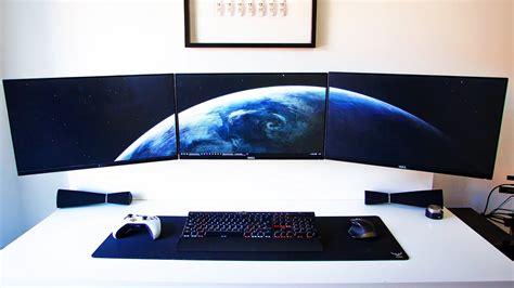 gaming computer desk clean monitor setup setup spotlight