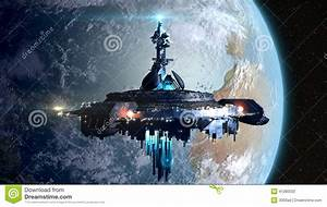 Alien Mothership Near Earth Stock Illustration ...