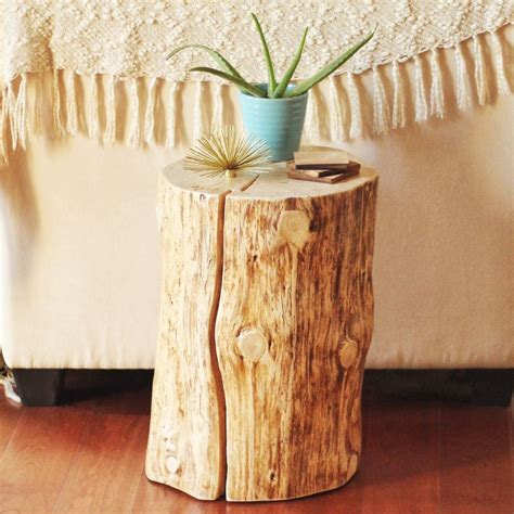 how to make a tree stump end table diy natural tree stump side table justinecelina