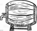Barrel Beer Wine Sketch Wooden Vector Tap Metal Bottle Alcohol Hoops Racks Isolated Vectors Illustrations Container Drink Colourbox sketch template