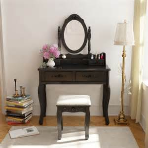 belleze wood make up vanity table and stool set bedroom