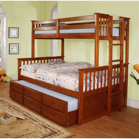 twin over full university oak bunk bed twin trundle