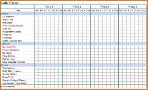 Chore List Template For Chore List Template Shatterlion Info