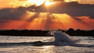 Welle küssen die Sonne HD Desktop