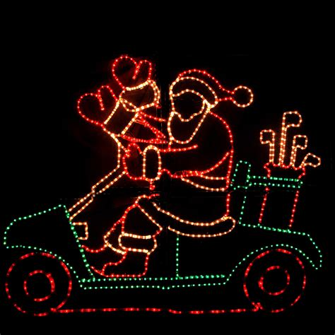 outdoor decoration waving santa  golf cart