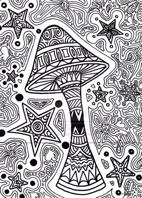 trippy coloring pages printable star shroom
