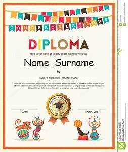 Preschool Elementary School Kids Diploma Certificate ...