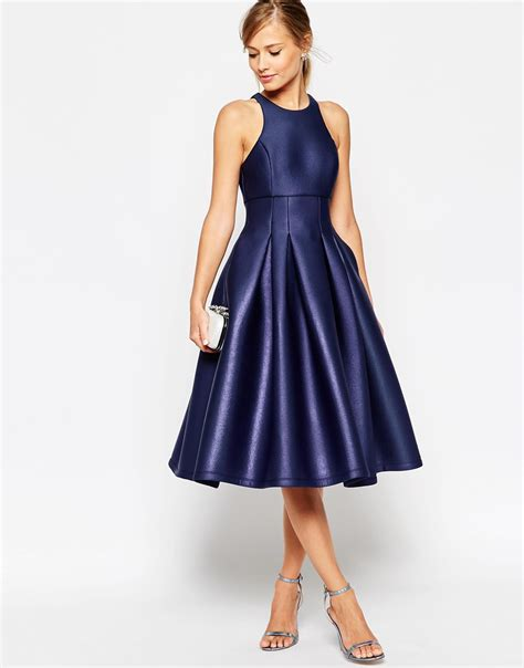 lyst asos salon shimmer scuba ultra full prom dress  blue