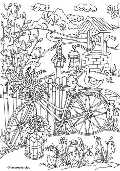 bicycle printable adult coloring page  favoreads etsy