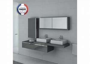 Meuble Salle De Bain Asymétrique : meuble de salle de bain double vasque gris taupe gloss dis9551gt distribain ~ Nature-et-papiers.com Idées de Décoration