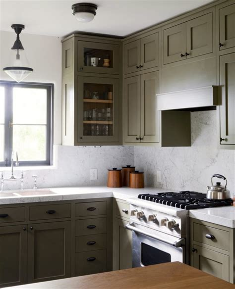 green painted kitchen cabinets  love