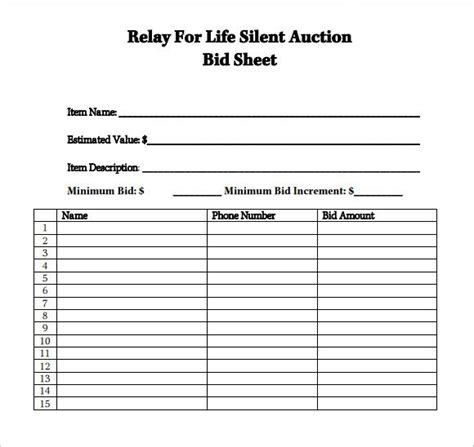 relayforlifesilentauction silent auction bid sheets