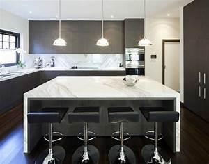 Ilot central cuisine moderne cuisine en image for Petite cuisine équipée avec meuble contemporain salle a manger