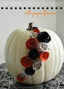 Diy, White, Pumpkin, Decor, With, Paper, Flowers